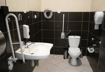 Zdjęcie. Wnętrze toalety. Po prawej stronie sedes z poręczą. Po lewej stronie nisko zawieszona umywalka z poręczą.