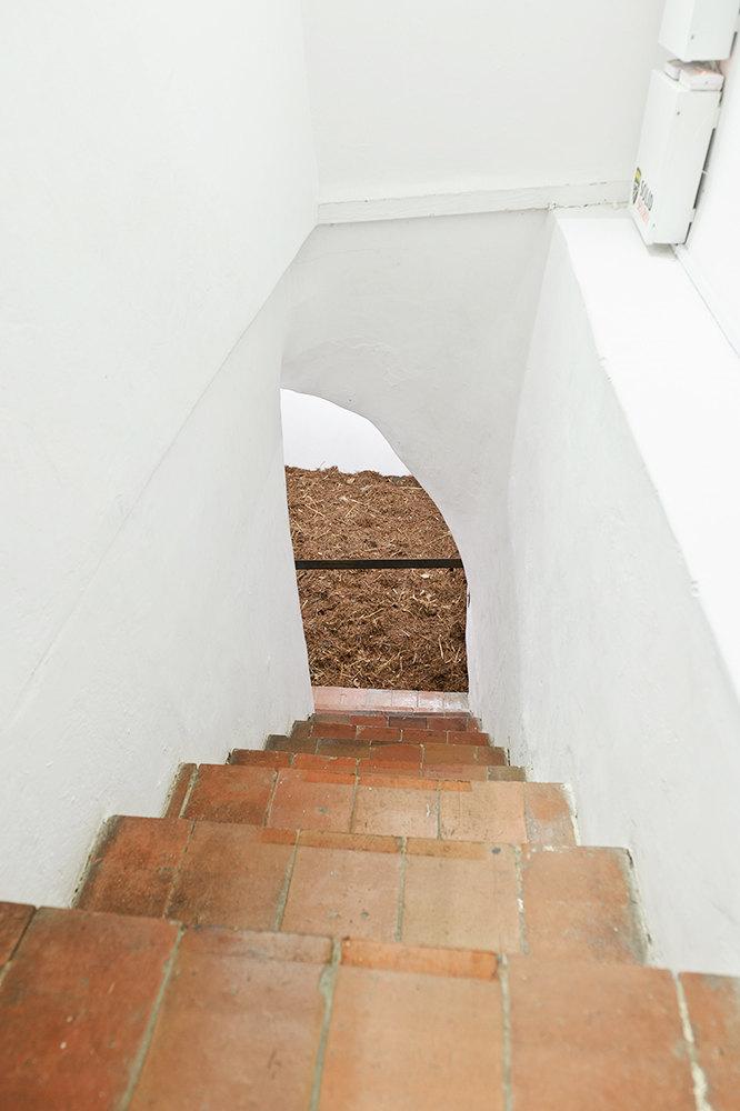 widok na schody z góry w białym korytarzu