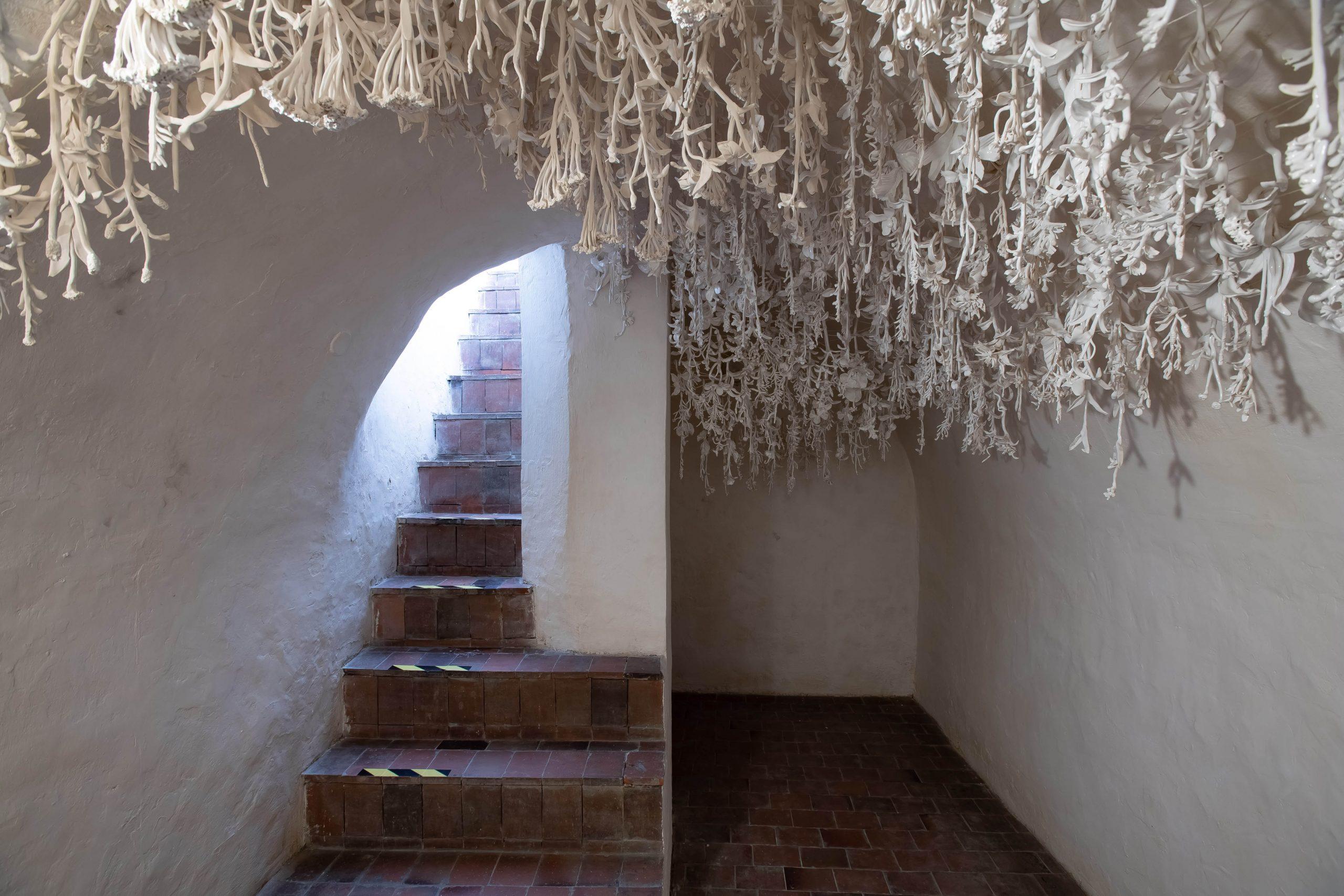 zdjęcie sali o półokrągłym suficie. z lewej strony schody na górę, z prawej fragment sali. z sufitu zwisają białe chwasty