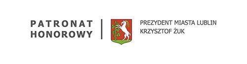 Grafika. Po lewej tekst: Patronat honorowy, na środku herb miasta Lublin z koziołkiem, po prawej napis: Prezydent Miasta Lublin Krzysztof Żuk